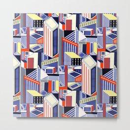 Abstract Minimalism City (Pastel & Orange) Metal Print
