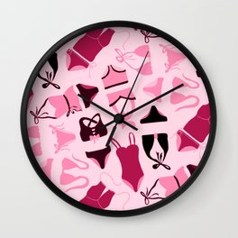 Yesteryear | Retro Bathing Suits | Pink Black Swimsuits | Renee Davis Wall Clock