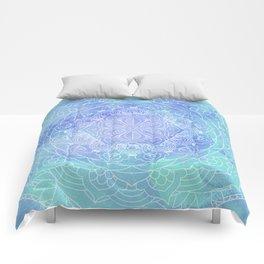 Blue Mandala Pattern Zen Painting Comforters