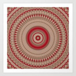 Textured Red Madala Art Print