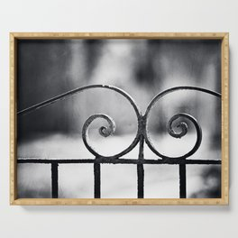 Black and White Wrought Iron Gate Photography, Dark Grey Old Vintage Fence Gray Architecture Minimal Serving Tray