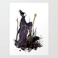 maleficent Art Prints featuring Maleficent by Louise Hubbard
