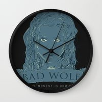 bad wolf Wall Clocks featuring Bad Wolf by AmdyDesign