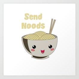 Send Noods Japanese Ramen Noodles Vintage Art Print