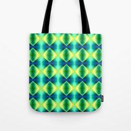 Green Yellow Geometric Metallic Diamond Pattern Tote Bag