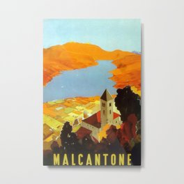 Malcantone Vintage Travel Poster Metal Print