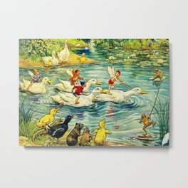 """Duck Racing in the Pond"" by Margaret Tarrant Metal Print"