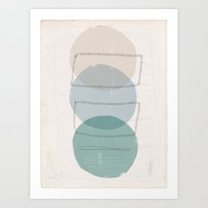 Three Stacked Ellipses with Line in Green and Gray Art Print