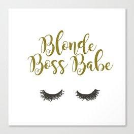 Blonde Boss Babe Canvas Print