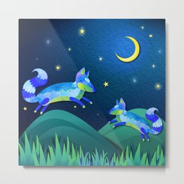 Starlit Foxes Metal Print