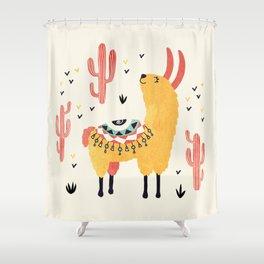 Yellow Llama Red Cacti Shower Curtain