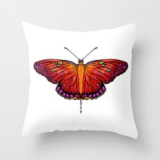 Red an Orange Butterfly Throw Pillow