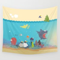What's going on at the sea? Kids collection Wall Tapestry