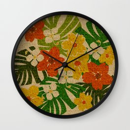 Limahuli Garden Hawaiian Floral Design Wall Clock