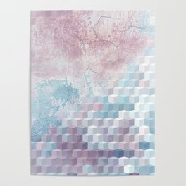 Distressed Cube Pattern - Pink and blue Poster