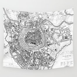 Vintage Map of Vienna Austria (1833) BW Wall Tapestry