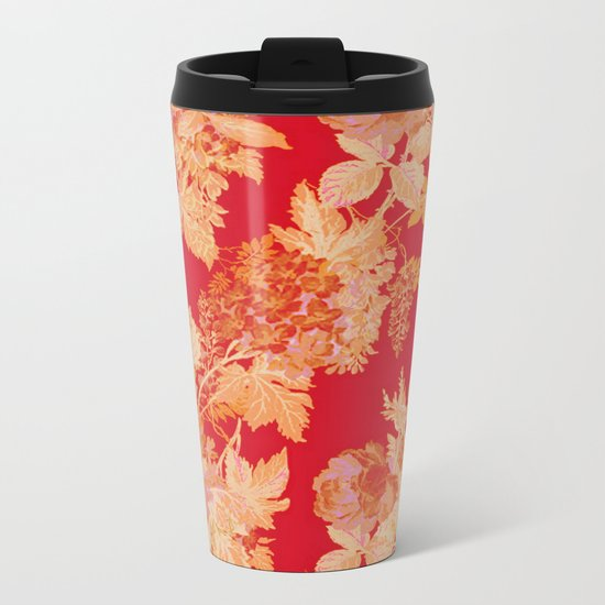 gold and red floral Metal Travel Mug