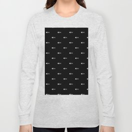 Black & White Fish Skeleton Pattern Design Long Sleeve T-shirt