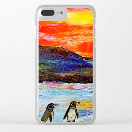 Beautiful Penguins With Sea Lion By The Blue Ocean Painting Clear iPhone Case