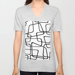 Mid Century Black And White Pattern Unisex V-Neck