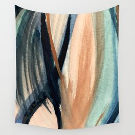 Waves - a pretty minimal watercolor abstract in blues, pinks, and browns Wall Tapestry