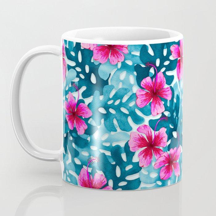 Tropical Hibiscus Pattern Pink Coffee Mug