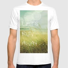 Let's Run Away White Mens Fitted Tee SMALL