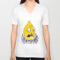 lemongrab V-neck T-shirts featuring Unacceptable   Lemongrab by ScarlettDesigns