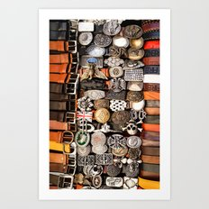 Italian leather belts, Florence market Art Print