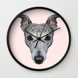 Whippet // Pastel Pink Wall Clock