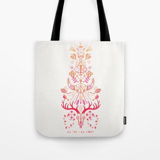 La Vie & La Mort – Pink & Orange Ombré Tote Bag