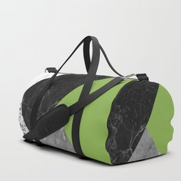 Black and White Marbles and Pantone Greenery Color Duffle Bag