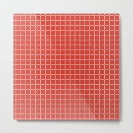 Modified Grid Pattern in Coral and Peach Metal Print