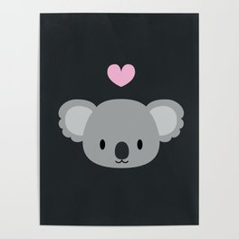 Cute koalas and pink hearts Poster