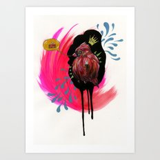 Fat Bird Demands Cake Art Print