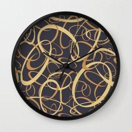funky retro loops orange cream navy Wall Clock