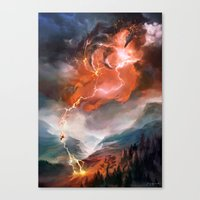magic the gathering Canvas Prints featuring Lightning Bolt - Magic: The Gathering by vmeignaud