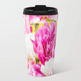 Beauties of nature - large pink flowers on a yellow background Travel Mug
