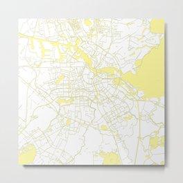 Amsterdam White on Yellow Map Metal Print