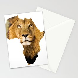 African Map Lion Design Stationery Cards