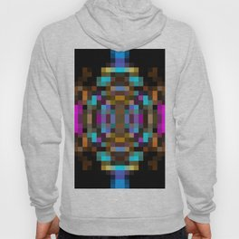 geometric square pixel abstract in blue orange pink with black background Hoody