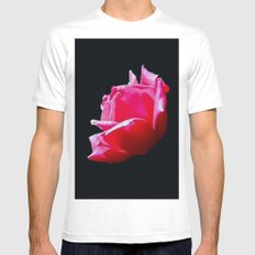 rose on black Mens Fitted Tee MEDIUM White
