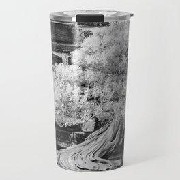 Bonsai Juniper Thrives in its Tray in a Japanese Garden Travel Mug