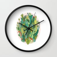 cacti Wall Clocks featuring Cacti by Gaby D'Alessandro