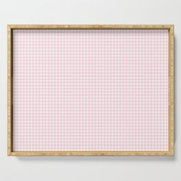 Soft Pastel Pink and White Hounds Tooth Check Serving Tray