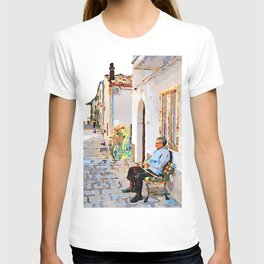 Borrello: senior citizen sitting on a bench outside the home T-shirt