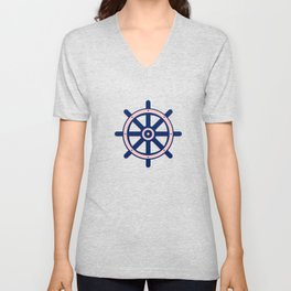 AFE Pink and Navy Helm Wheel Unisex V-Neck