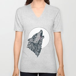 Direwolf Howling at the moon Unisex V-Neck