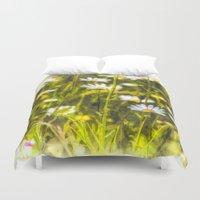 oil Duvet Covers featuring Chamomile Oil by David Pyatt