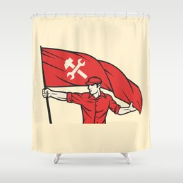 worker holding a flag - industry poster (design for labor day) Shower Curtain